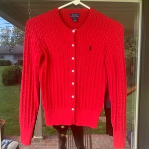 Button down polo by Ralph Lauren. (Red sweater)